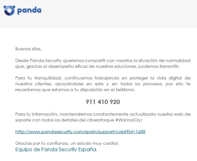 Comunicado Panda sobre virus #wannacry